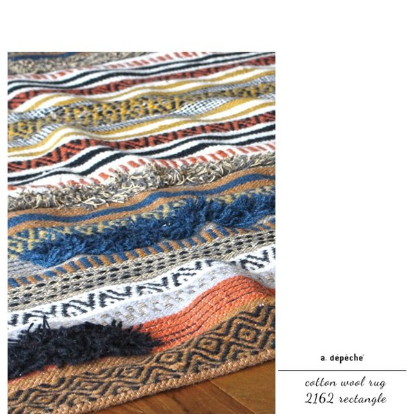 ラグ ラグマット  『コットン ウール ラグ 2162 レクタングル』マルチカラー rug カーペット  リビング マット 120x180 おしゃれ 幾何学柄 送料無料|a-depeche|06