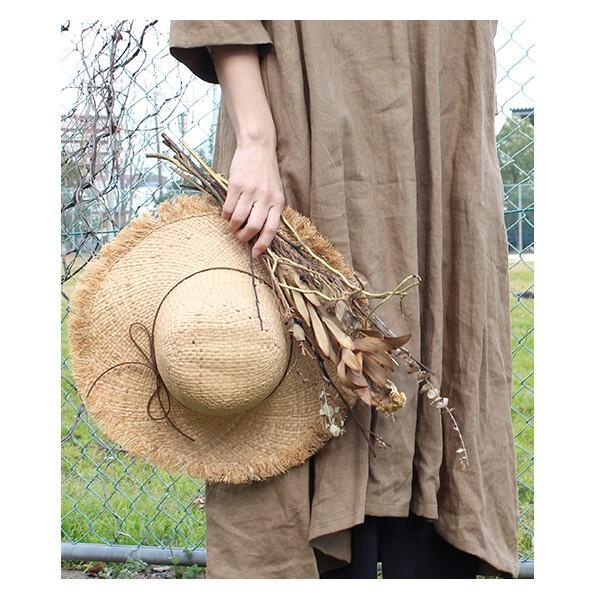 麦わら帽子 サマーハット 『キャペリン フリンジ ハット』 レディース 夏 天然素材 おしゃれ リボン 付き つば広 女優帽|a-depeche|05