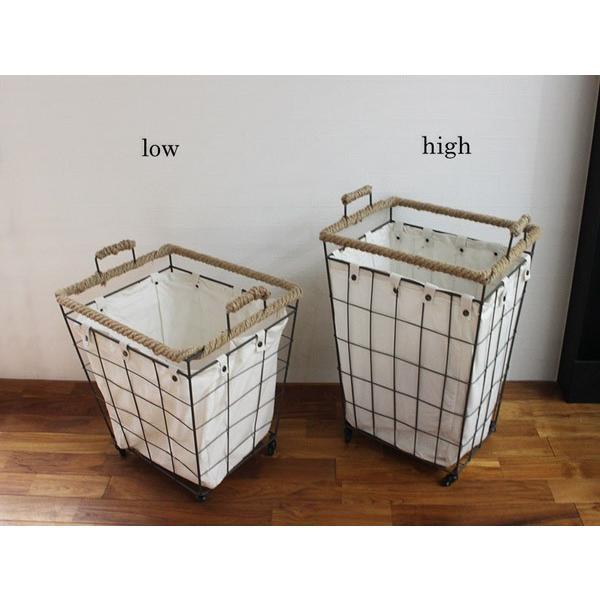ヘンピング ランドリー カート ハイ hemping laundry cart high かさばる洗濯ものもたっぷりと入るバスケット|a-depeche|02