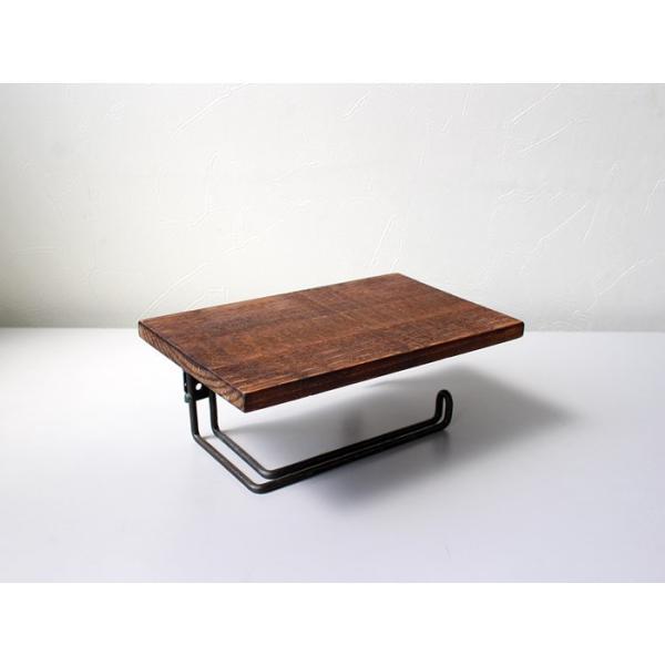 ウッドペーパーホルダー(S) wood paper holder(S) インダストリアルな雰囲気の飾り棚付トイレットペーパーホルダー|a-depeche