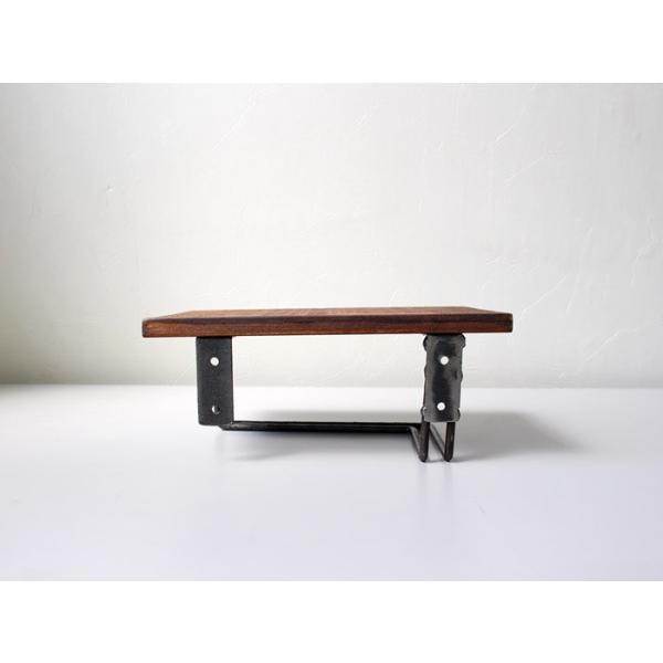 ウッドペーパーホルダー(S) wood paper holder(S) インダストリアルな雰囲気の飾り棚付トイレットペーパーホルダー|a-depeche|02