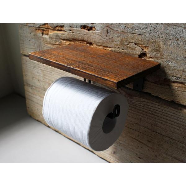 ウッドペーパーホルダー(S) wood paper holder(S) インダストリアルな雰囲気の飾り棚付トイレットペーパーホルダー|a-depeche|04