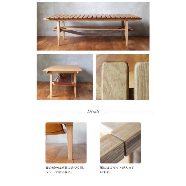 ソロ スラット コーヒー テーブル 『センターテーブル 無垢材 木製 ローテーブル 130 ナチュラル モダン スクエア 高さ39』|a-depeche|18