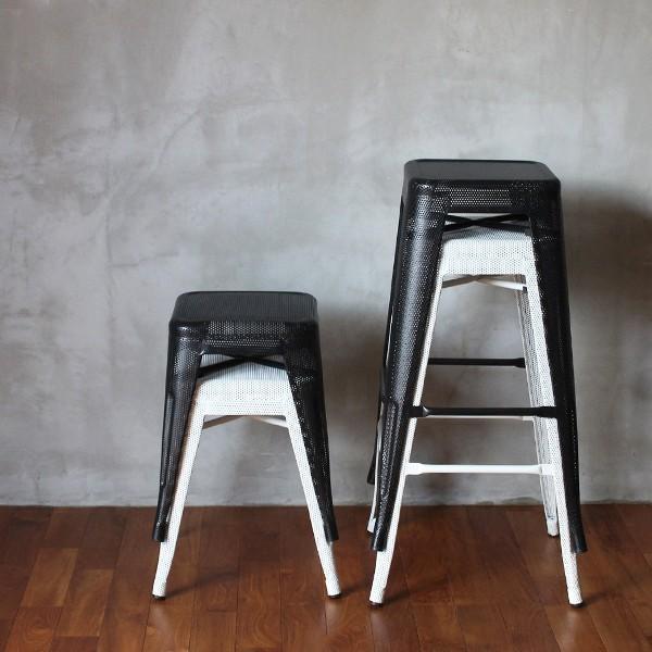スツール 北欧 『スタッキング メッシュ スツール』 椅子 収納 スチール 四角 おしゃれ カフェ バー 46cm チェア 積み重ね a-depeche 12