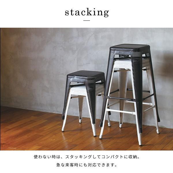 スツール 北欧 『スタッキング メッシュ スツール』 椅子 収納 スチール 四角 おしゃれ カフェ バー 46cm チェア 積み重ね a-depeche 06