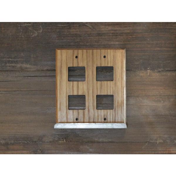 ウッド アイアントレイ  スイッチプレート 4口 wood iron tray switch plate 4口 スイッチの周りもおしゃれにするスイッチカバー|a-depeche|02