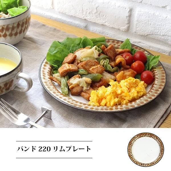 バンド 220 リムプレート 『リムプレート 陶器 レトロ パスタ皿 ギフト メイン料理皿 カフェ ワンプレート 柄 ハンドメイド 日本製 洋食器 リム皿』|a-depeche