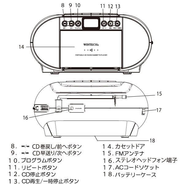 CDラジカセ CDR-G1 かんたん操作/コンパクトサイズ 2電源対応 ワイドFM対応ラジオ WINTECH/ウィンテック