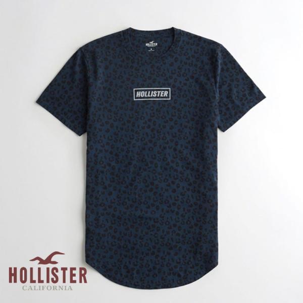 ホリスター HOLLISTER メンズ Tシャツ 半袖  クルーネック プリントロゴ グラフィックTシャツ ネイビー柄|a-freeshop