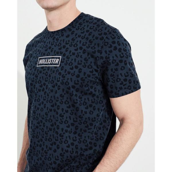 ホリスター HOLLISTER メンズ Tシャツ 半袖  クルーネック プリントロゴ グラフィックTシャツ ネイビー柄|a-freeshop|02