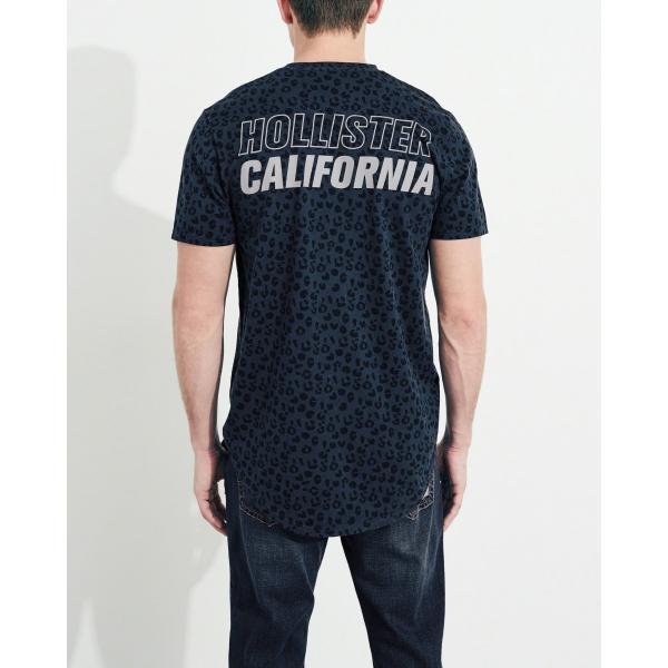 ホリスター HOLLISTER メンズ Tシャツ 半袖  クルーネック プリントロゴ グラフィックTシャツ ネイビー柄|a-freeshop|04