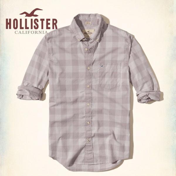 ホリスター HOLLISTER 新作 ネルシャツ メンズ 長袖 パターンドストレッチ ポプリンシャツ パープル|a-freeshop