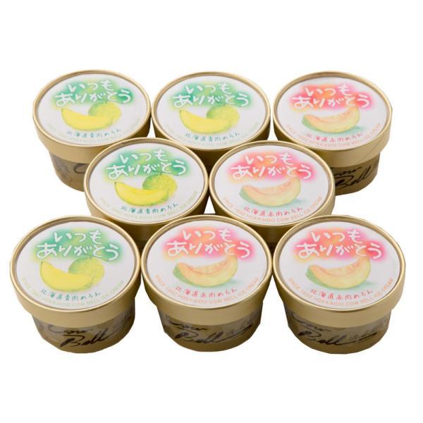 (お取り寄せグルメ) いつもありがとうラベル 北海道メロンアイスクリームセット(8個入り) 1003-070012 北海道直送品 送料無料 のし対応可 ギフト 贈物