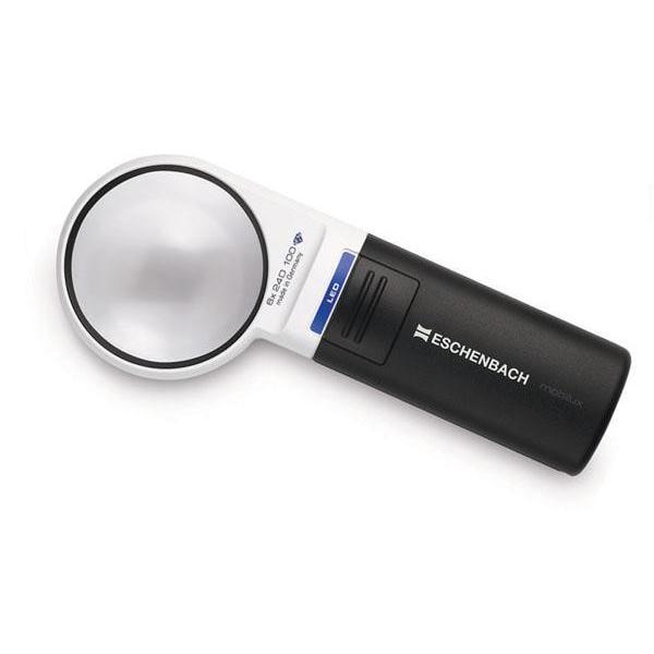 虫眼鏡 拡大鏡 ledライト付きエッシェンバッハ mobiluxLED+mobase LEDワイドライトルーペ&専用スタンド 60mmΦ(6倍) 1511-6M 代引き不可