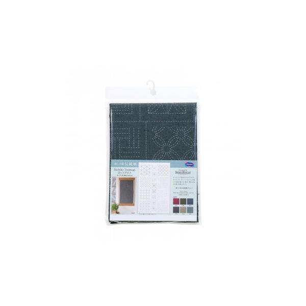 オリムパス 刺し子紬 第2弾 伝統柄 カット布 水色 CT-C2506