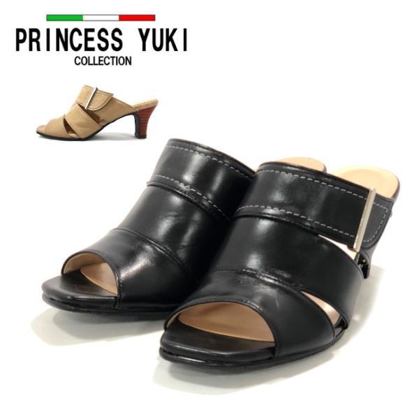 【PRINCESS YUKI】プリンセス ユキ6818ブラック グレージュ レディース・サンダル・革・日本製・ミュール
