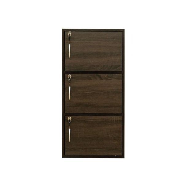 [送料無料・カード払・前払限定]鍵付きラック3段 H87cm WAL*全部のドアに鍵付きで各々違う鍵のカラーボックス