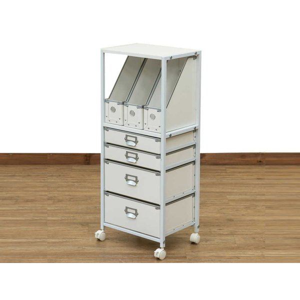 [送料無料・カード払・前払限定]ファイル収納チェスト5段  約W39xD31xH90cm ホワイト*ファイルや書類も整理可能**事務所、リビング、勉強部屋にも