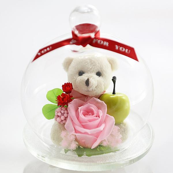 ベアアップル プリザーブドフラワー バラ 結婚記念日 退職祝い 誕生日プレゼント 還暦祝い 女性 プレゼント ギフト|a4s|05
