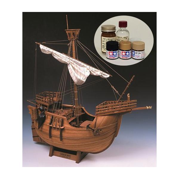 ウッディジョー/木製帆船模型 1/30カタロニア船+塗料セット