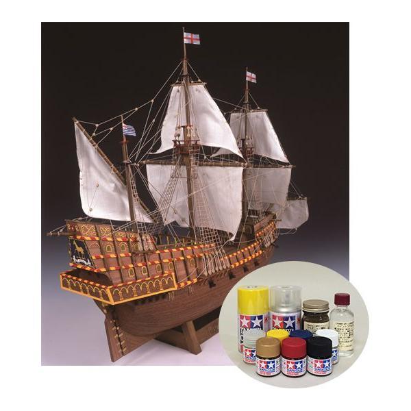 ウッディジョー/木製帆船模型 1/50ゴールデンハインド+塗料セット