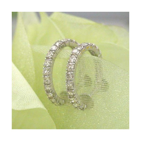 18金ホワイトゴールド(K18WG)ダイヤモンド(SI2 I)  0.5カラット x 2 (トータル1ct) エタニティイヤリング