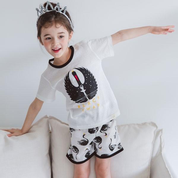キッズパジャマ 韓国子供服 子供服 ユニセックス ルームウェア ブラッスワン 100cm 110cm 120cm 130cm 140cm|aaahouse