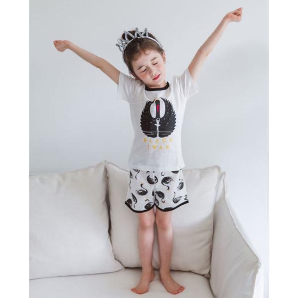 キッズパジャマ 韓国子供服 子供服 ユニセックス ルームウェア ブラッスワン 100cm 110cm 120cm 130cm 140cm|aaahouse|02