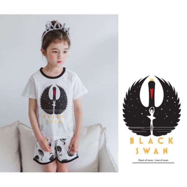 キッズパジャマ 韓国子供服 子供服 ユニセックス ルームウェア ブラッスワン 100cm 110cm 120cm 130cm 140cm|aaahouse|04