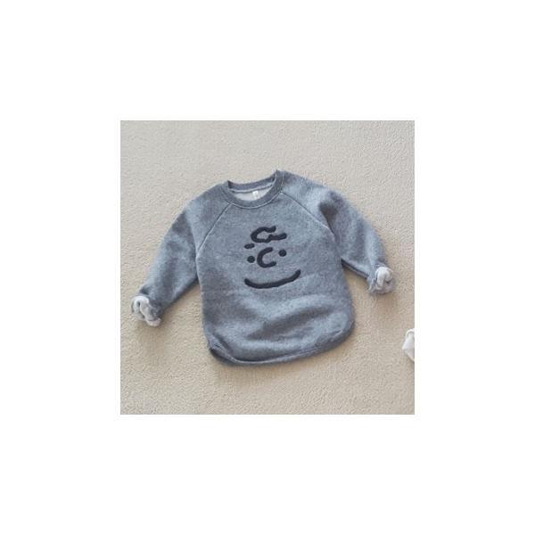 子供服 韓国子供服 チャーリーブラウントレーナー 男の子 女の子 裏起毛 グレー/アイボリー  90cm/100cm/110cm/120cm/130cm|aaahouse|05