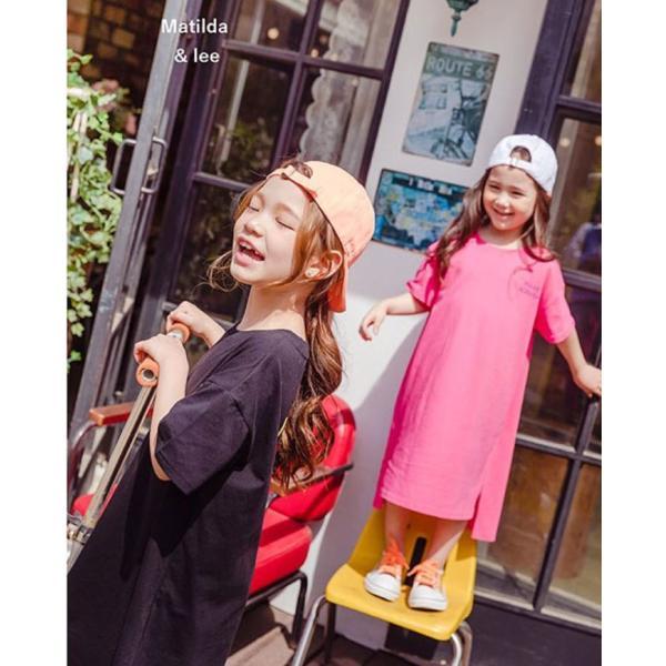 即納商品 韓国子供服 カジュアル オーバーサイズ ロングワンピース ピンク ブラック 90cm/100cm/120cm/130/140cm/150cm/160cm|aaahouse|02