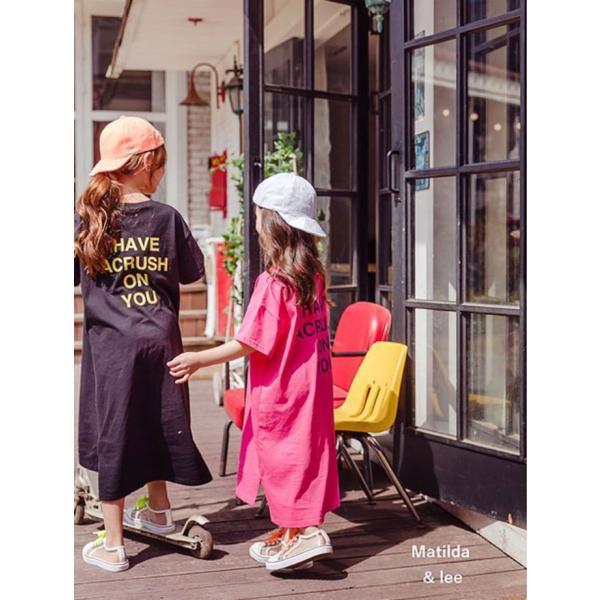 即納商品 韓国子供服 カジュアル オーバーサイズ ロングワンピース ピンク ブラック 90cm/100cm/120cm/130/140cm/150cm/160cm|aaahouse|03