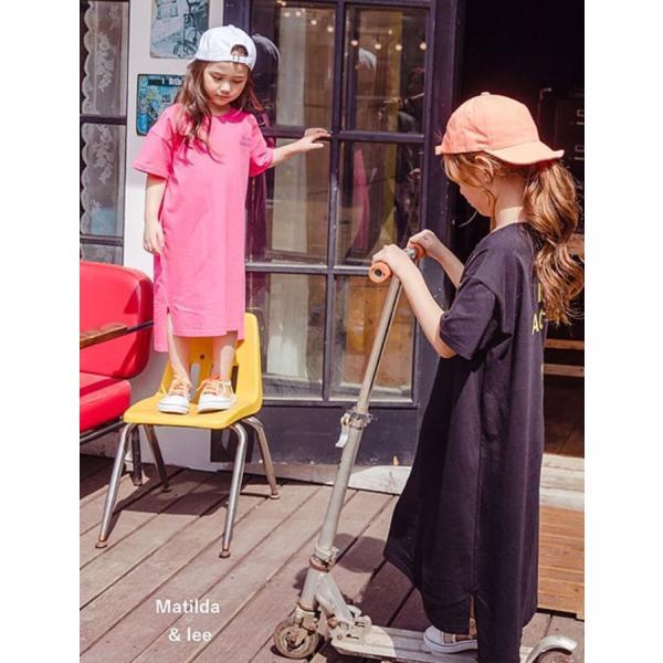 即納商品 韓国子供服 カジュアル オーバーサイズ ロングワンピース ピンク ブラック 90cm/100cm/120cm/130/140cm/150cm/160cm|aaahouse|04