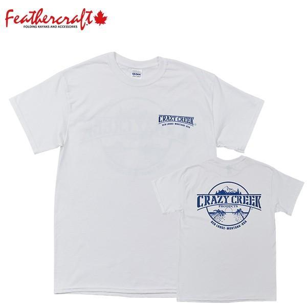 クレイジークリーク CRAZY CREEK Ms ロゴTシャツ ホワイト/ブルー