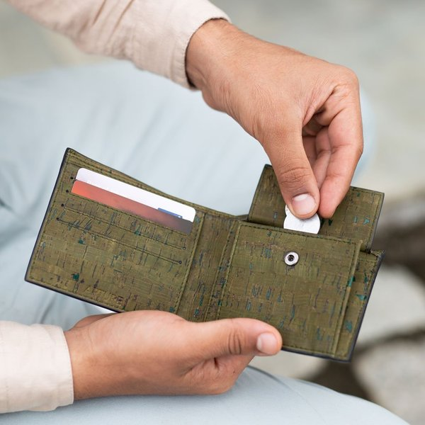 二つ折り財布 Olive コルク製 小銭入れ付き|aasha-shop|07