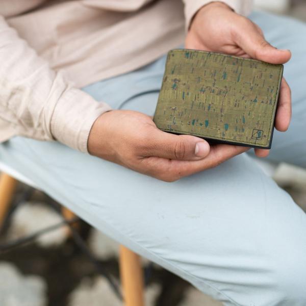 二つ折り財布 Olive コルク製 小銭入れ付き|aasha-shop|05