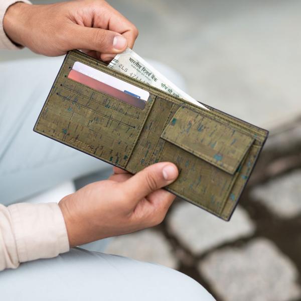 二つ折り財布 Olive コルク製 小銭入れ付き|aasha-shop|06