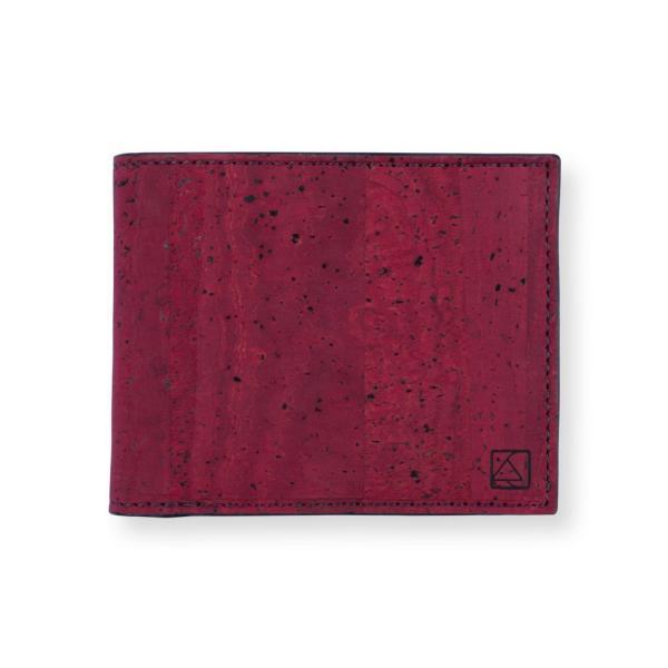 二つ折り財布 マルーン&ブラック コルク製 小銭入れ付き aasha-shop