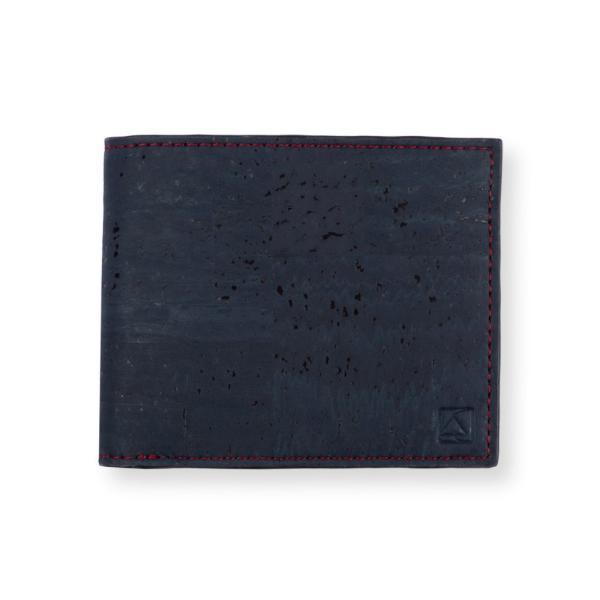 二つ折り財布 ブルー&ブラウン コルク製 小銭入れ付き|aasha-shop