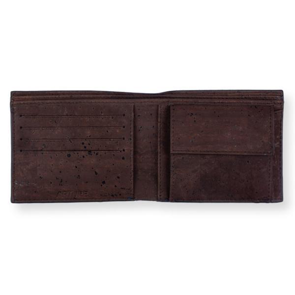 二つ折り財布 ブルー&ブラウン コルク製 小銭入れ付き|aasha-shop|04