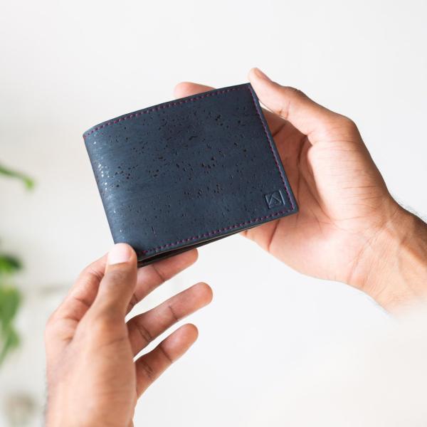 二つ折り財布 ブルー&ブラウン コルク製 小銭入れ付き|aasha-shop|05