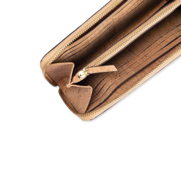 ラウンドファスナー 長財布 ナチュラルカラー コルク製 ビーガン 一年保証|aasha-shop|03