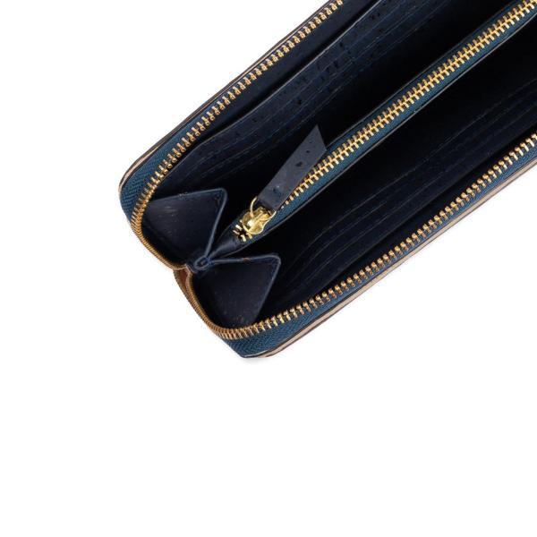 ラウンドファスナー 長財布 青 コルク製 ビーガン  一年保証|aasha-shop|03