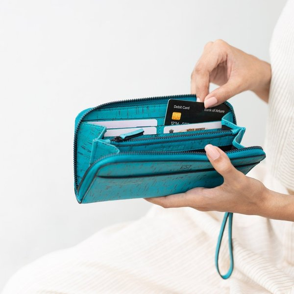 ラウンドファスナー 長財布 ティール コルク製 ビーガン  一年保証|aasha-shop|04