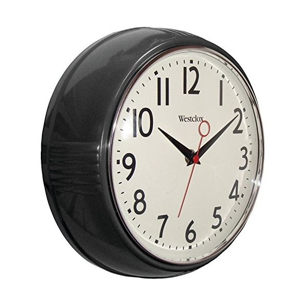 32042BK glass Westclox Black 32042BK 1950's Retro Case Convex Glass Clock, 9.5-Inch
