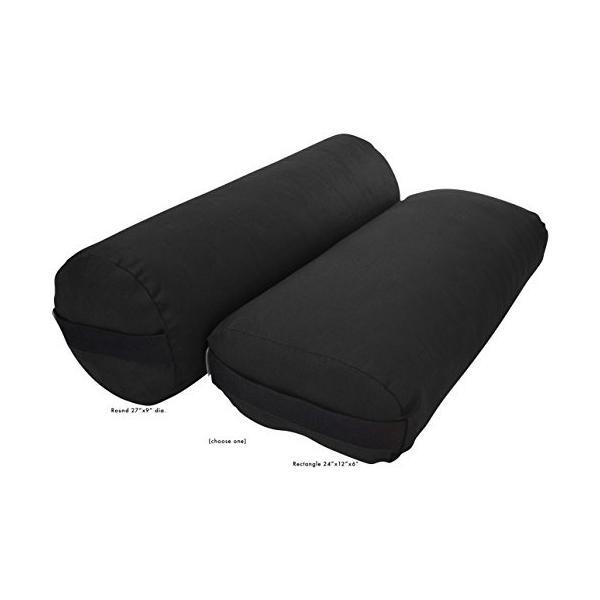 ヨガBean Products Yoga Bolster - Cotton Round - Black|abareusagi-usa
