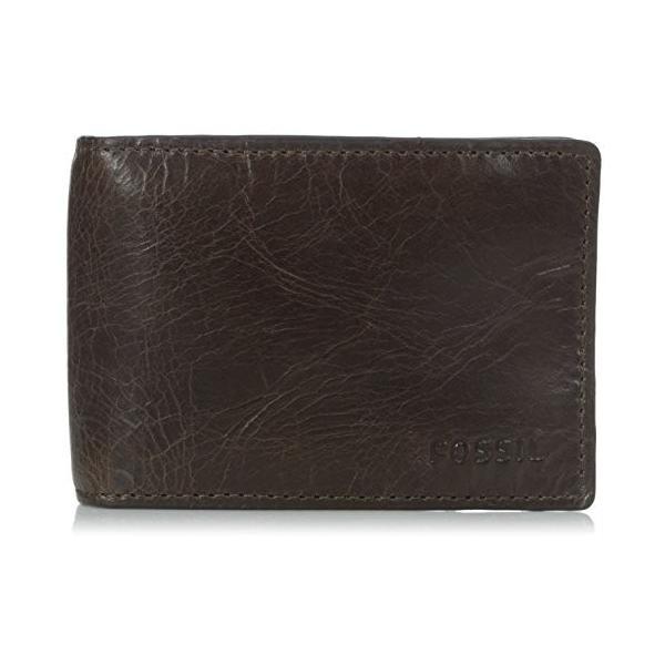 ML3684 One Size Fossil Men's Money Clip Bifold Wallet, Dark Brown, One Size|abareusagi-usa