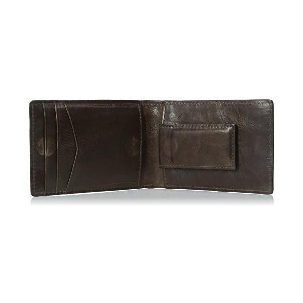 ML3684 One Size Fossil Men's Money Clip Bifold Wallet, Dark Brown, One Size|abareusagi-usa|05