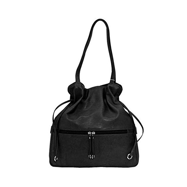 ILILeather Drawstring Hobo Handbag (Black)