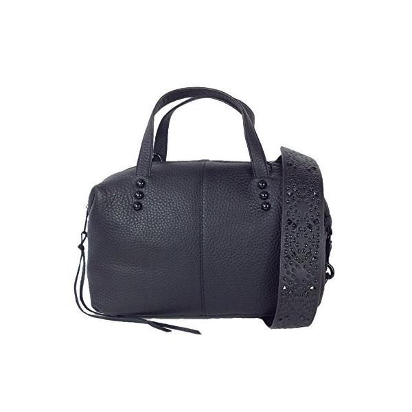 レベッカミンコフRebecca Minkoff Leather Satchel with Studded Guitar Strap, Black